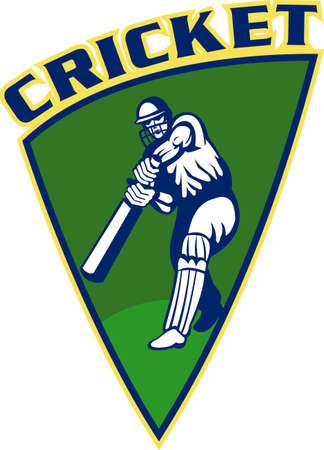 batting: illustration of a cricket sports player batsman batting front view set inside shield