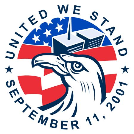 illustration of an American bald eagle with American flag stars and stripes and 9-11 World Trade Center twin tower building  with words United we stand September 11, 2001 illustration