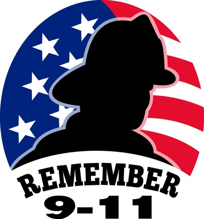 fireman: illustration of a fireman firefighter silhouette with American stars and stripes flag in background and words Remember 9-11