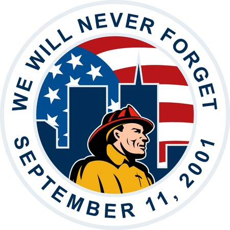 illustration of a fireman firefighter with twin tower world trade center wtc building with American stars and stripes flag in background and words we will never forget September 11,2001 illustration