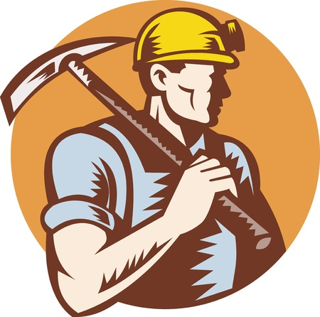 coal miner: illustration of a Coal miner at work with pick ax done in retro woodcut style