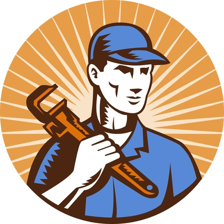 illustration of a Plumber holding monkey wrench standing front view set inside circle with sunburst done in retro style Stock Illustration - 8781235