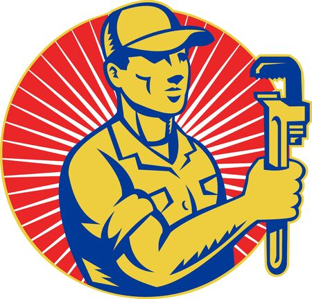 monkey wrench: illustration of a Plumber holding monkey wrench standing front view set inside circle with sunburst done in retro style
