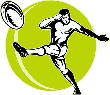 kicking ball: illustratoion of a rugby player kicking ball retro woodcut style. Stock Photo