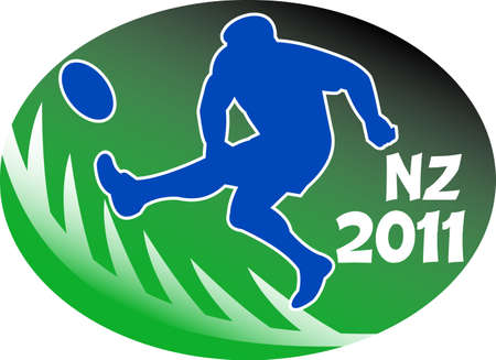 illustration of a rugby player kicking the ball side view set inside oval or ball with fern silhouette and words NZ 2011 illustration