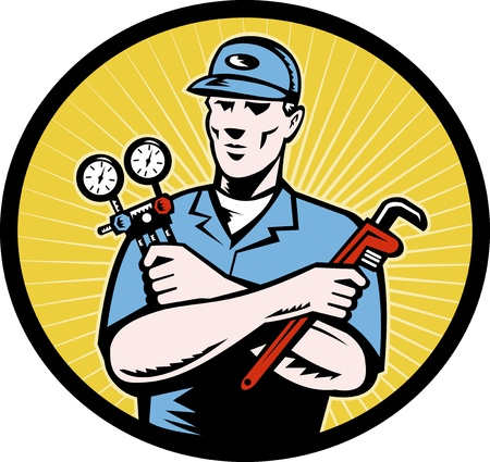 serviceman:  illustration of a repairman or air conditioning  aircon ac  serviceman holding an ac manifold gauge and pipe  wrench done in retro woodcut style set inside oval with sunburst