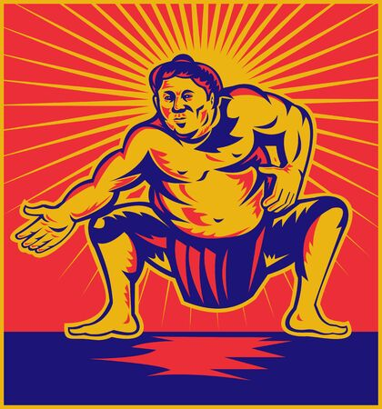 sumo: illustration of a Sumo wrestler crouching facing front with sunburst in background done in retro woodcut style.