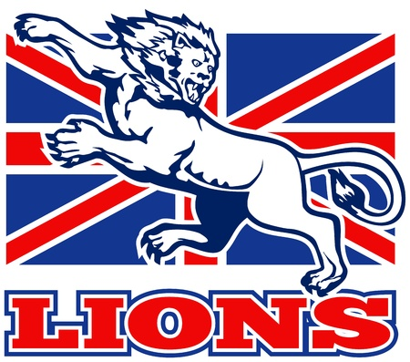 brit: illustration of a Lion attacking with  British Great Britain union jack flag in background