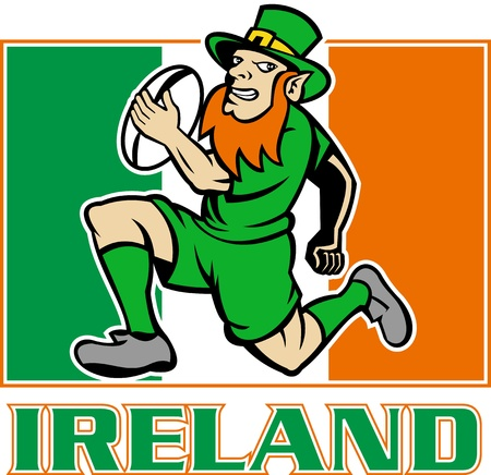 illustration of a cartoon  Irish leprechaun or rugby player running with ball wearing hat with flag of  Ireland in background illustration