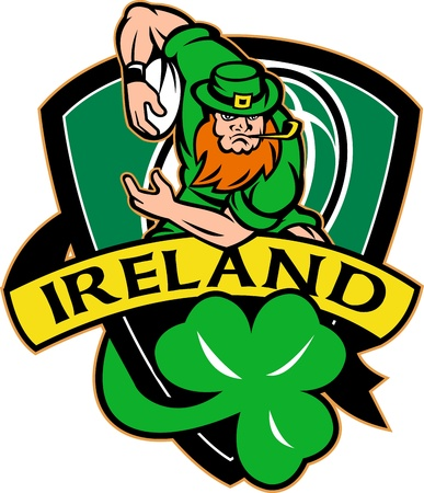 irish: illustration of an Irish leprechaun or rugby player running with ball wearing hat with shamrock or clover leaf  and shield with words