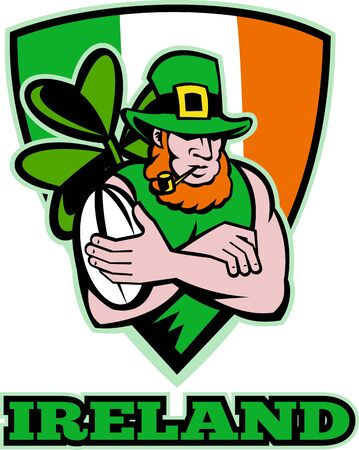 illustration of an Irish leprechaun or rugby player arms crossed with ball wearing hat with shamrock or clover leaf  and shield flag of Ireland. illustration
