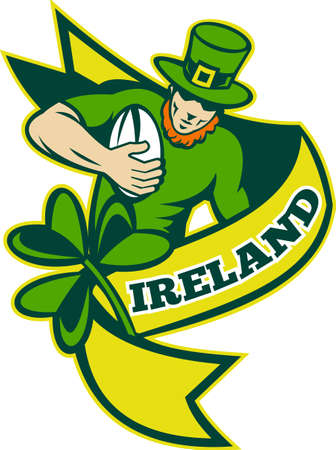 illustration of an Irish rugby player running with ball wearing leprechaun hat with shamrock or clover leaf and scroll with words Stock Illustration - 8950444