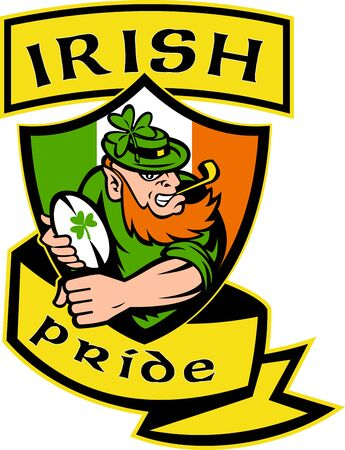 illustration of an Irish leprechaun or rugby player running with ball wearing hat with shamrock or clover leaf  and shield flag of Ireland and words  illustration
