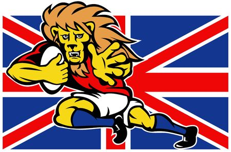 illustration of a cartoon British Lion playing rugby running with ball fending off with Union Jack Flag isolated on white background illustration