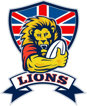 illustration of a British Lion playing rugby with ball and Union Jack shield isolated on white background illustration
