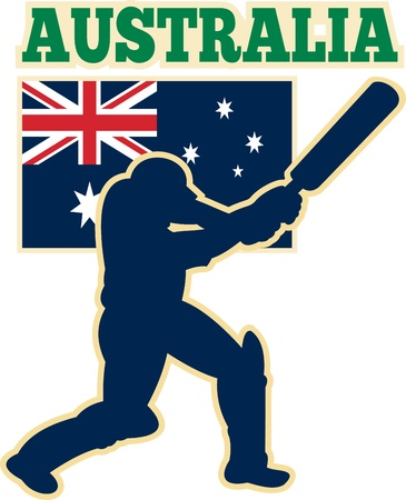 batsman: illustration of  silhouette of cricket batsman batting front view with flag of Australia in background