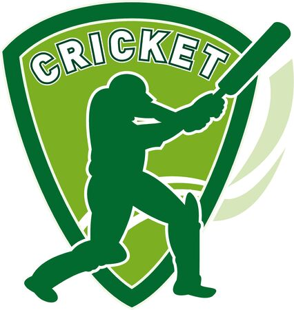 crickets: illustration of a cricket sports player batsman silhouette batting set inside shield Stock Photo