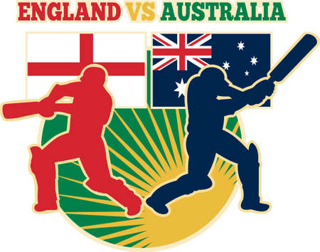 aussie: illustration of  silhouette of cricket batsman batting front view with flag of England and Australia in background