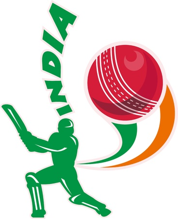 batsman: illustration of a cricket batsman silhouette batting front view with ball in background done in retro style with words  Stock Photo