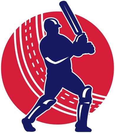 cricket: illustration of a cricket batsman batting front view with ball in background done in retro style