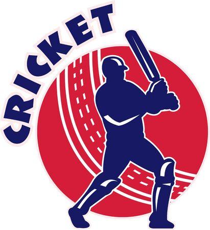 batsman:  illustration of a cricket batsman batting front view with ball in background done in retro style Stock Photo
