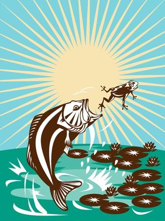 largemouth bass: Ilustraci�n de un bajo Micropterus saltando la captura de una rana con lily pad y flor en estilo retro