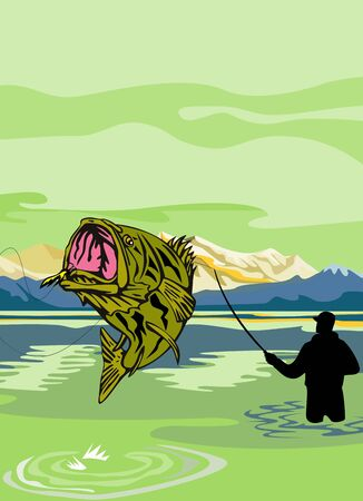 illustration of a Largemouth Bass Fish jumping being reeled by Fly Fisherman with Fishing rod done in retro style illustration