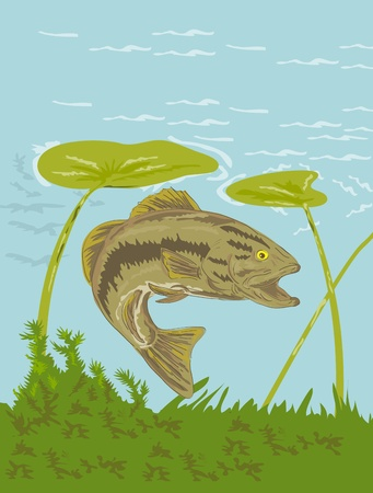 largemouth bass: illustration of a largemouth bass fish swimming underwater  Stock Photo