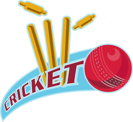 wicket: illustration of a cricket ball hitting bowling over wicket with words cricket  Stock Photo