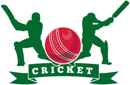 cricket sport: illustration of a cricket player batsman silhouette batting front view with ball flying out done in retro style on isolated white background