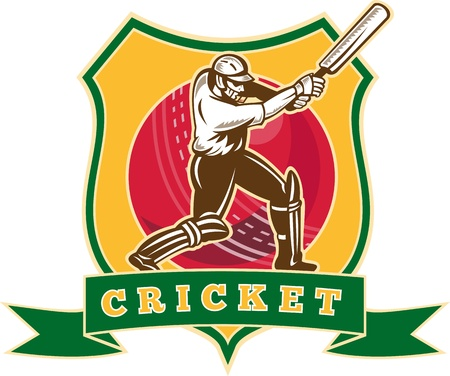 cricket: illustration of a cricket sports batsman batting viewed from front with cricket ball in the middle and shield with words  cricket  done in retro style