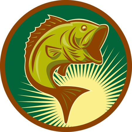 illustration of a largemouth bass fish jumping set inside circle with forest green background done in retro style illustration