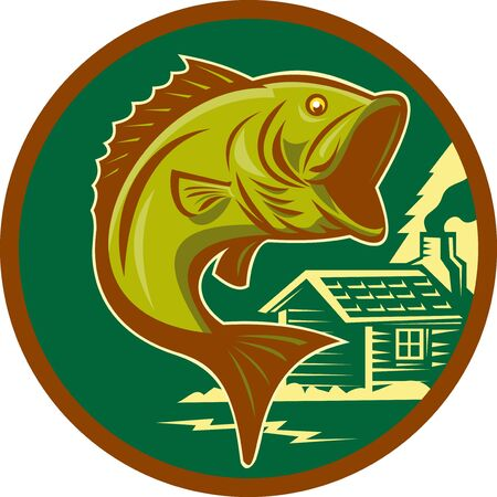 illustration of a largemouth bass fish jumping set inside circle with log cabin in background background done in retro style Stock Illustration - 9086860