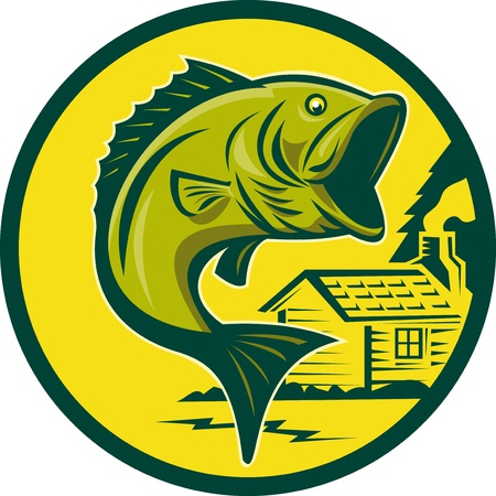 largemouth bass: illustration of a largemouth bass fish jumping set inside circle with log cabin in background background done in retro style Stock Photo
