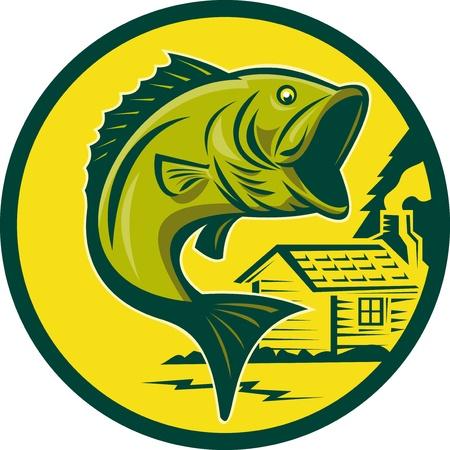 largemouth bass: Ilustraci�n de un pez de bass Micropterus saltando conjunto en c�rculo con caba�a en fondo fondo realizado en estilo retro