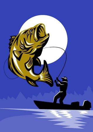 spigola: illustrazione di un pesce Largemouth Bass saltando essendo avvolti da pescatore volare sulla barca basso con canna da pesca in stile retr�