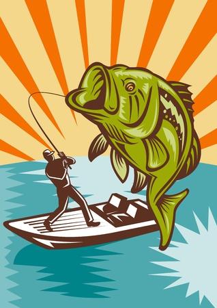 largemouth bass: Ilustraci�n de un salto de pescado bajo gran boca est� con pescado por pescador volar en barco bajo con ca�a de pescar en estilo retro