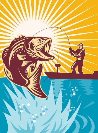 illustration of a Largemouth Bass Fish jumping being reeled by Fly Fisherman on bass boat with Fishing rod   done in retro style illustration