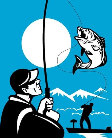 largemouth bass: Ilustraci�n de un pez de Bass Micropterus salto est� con pescado por pescador volar en barco bajo con ca�a de pescar en estilo retro