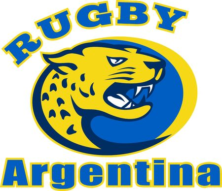 leopard head: Illustration of a big cat or leopard head growling with words  Rugby Argentina