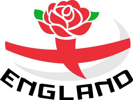 english rose: Illustration of a red English rose with flag of England inside rugby ball and words  England
