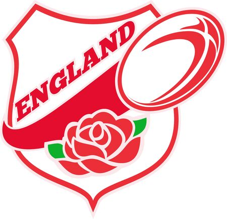 Illustration of a red English rose inside shield with rugby ball flying out and words  England  illustration