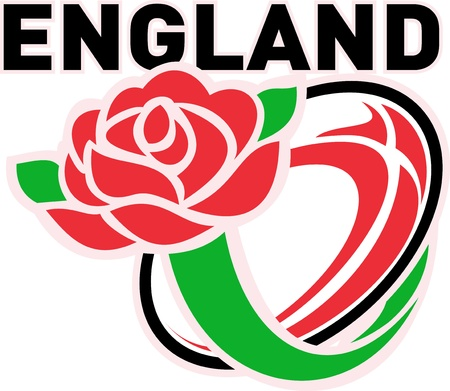 english rose: Illustration of a red English rose with rugby ball flying out and words England  Stock Photo