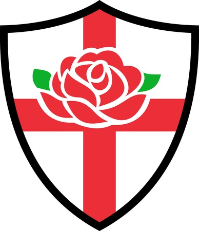 Illustration of a red English rose with flag of England inside shield illustration