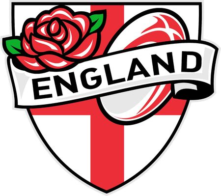 Illustration of a red English rose inside flag shield with rugby ball flying out and words England illustration