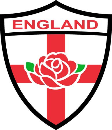 english rose: Illustration of a red English rose inside shield with flag of England and words  England  Stock Photo