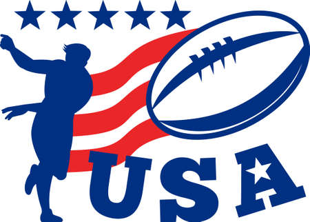 illustration of an American rugby player passing ball with red ribbon stripes and stars with words USA illustration