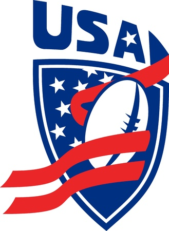 illustration of a American rugby football ball with red ribbon stripe and stars shield with words USA illustration