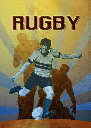 poster illustration of a rugby player kicking the ball with sunburst in background with grunge texture Stock Illustration - 9235851
