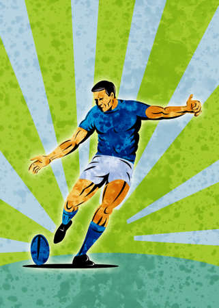 poster illustration of a rugby player kicking the ball with sunburst in background with grunge texture illustration
